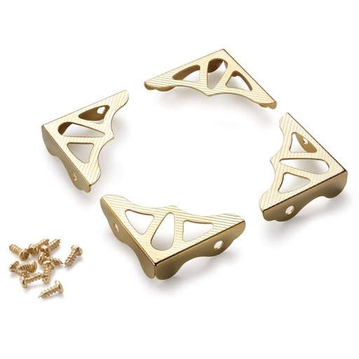 View a Larger Image of Decorative Box Corners Brass Plated 4 pc