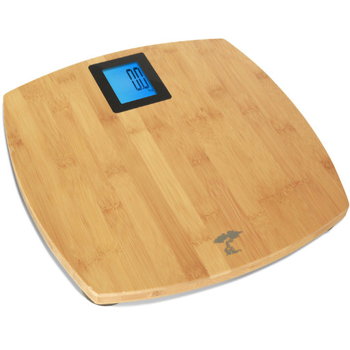 View a Larger Image of Deluxe Bamboo Bathroom Scale. Backlit Large Display. 400lb Capacity.