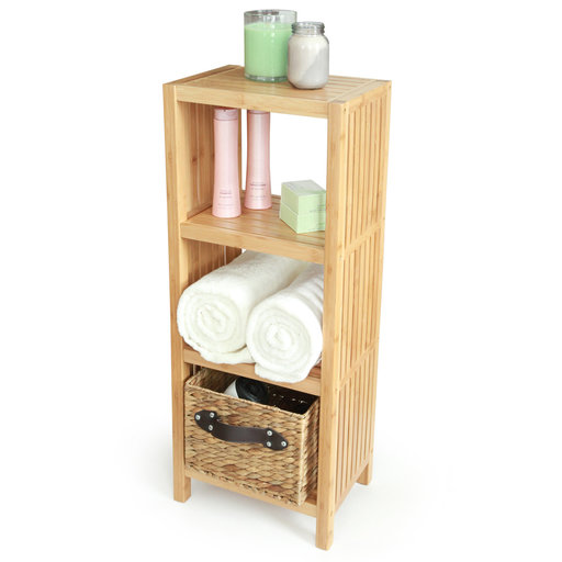 View a Larger Image of Deluxe Bamboo Freestanding Bathroom Organizing Shelf, 4-Tier Shelf