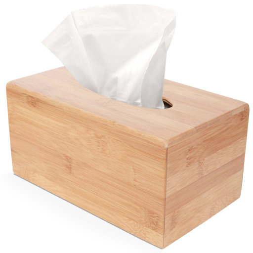 View a Larger Image of Deluxe Bamboo Tissue Box Holder (Rectangle Large)