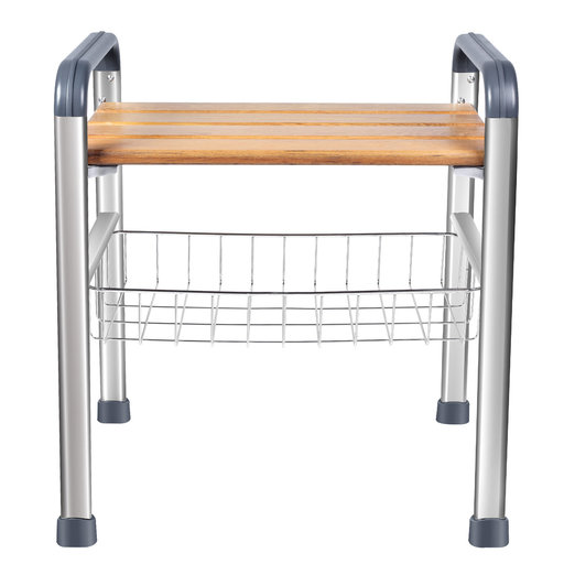 View a Larger Image of Deluxe Teak and Stainless Steel Shower Seat Organizer (Handles)