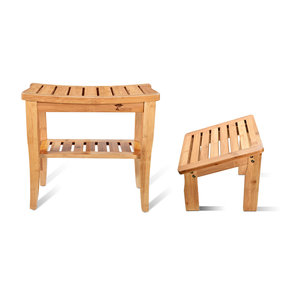 Deluxe Wooden Bamboo Shower Seat Bench with Underneath Storage Shelf (Seat with Foot Stool)