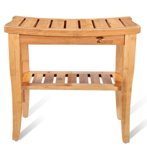 View a Larger Image of Deluxe Wooden Bamboo Shower Seat Bench with Underneath Storage Shelf (Seat with Foot Stool)