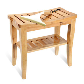 Deluxe Wooden Bamboo Shower Seat Bench with Underneath Storage Shelf (Seat with Squeegee)