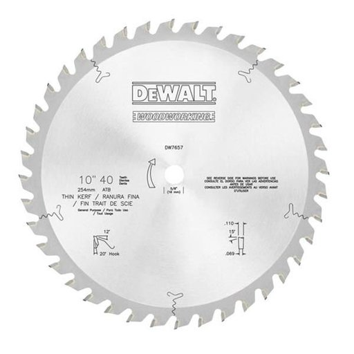 View a Larger Image of DW7657 10-Inch 40 Tooth ATB General Purpose Saw Blade