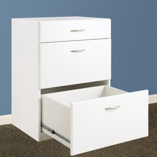View a Larger Image of Dimensions 3-Drawer Base Cabinet, White