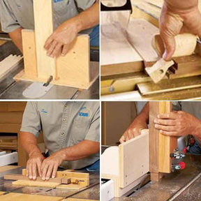 Downloadable Woodworking Project Plan to Build 4 Task-Tackling Tablesaw Jigs