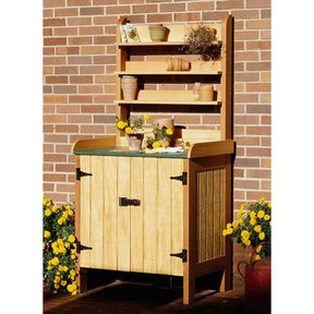 Downloadable Woodworking Project Plan to Build Gardener's Potting Bench