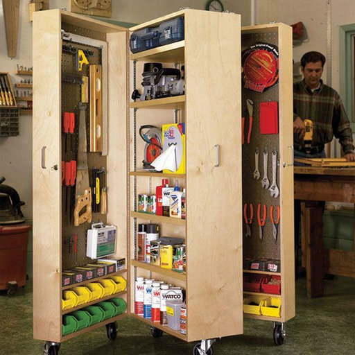 View a Larger Image of Downloadable Woodworking Project Plan to Build Mobile Tool Cabinet