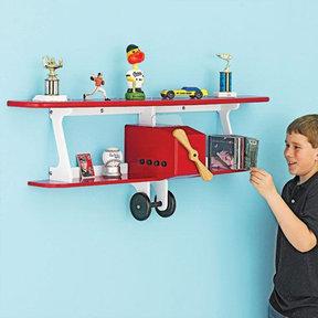 Downloadable Woodworking Project Plan to Build Plane-fun Kids Shelf