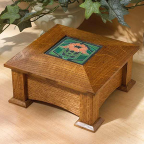 Downloadable Woodworking Project Plan to Build Tile-Topped Keepsake Box