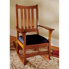 Downloadable Woodworking Project Plan to Build Two-In-One Arts and Crafts Chair/Rocker