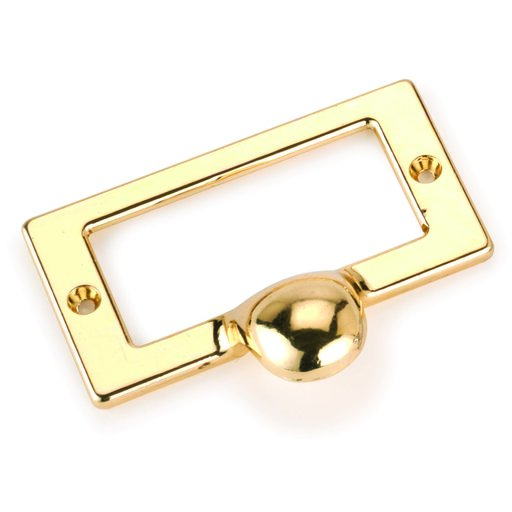 View a Larger Image of Drawer Pull with Card Holder Polished Brass Finish