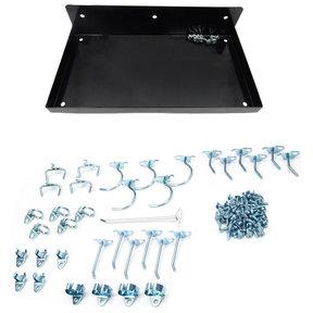 """DuraHook® 12""""W x 6""""D Locking Steel Pegboard Shelf with 36 pc Durahook® Assortment - Black"""