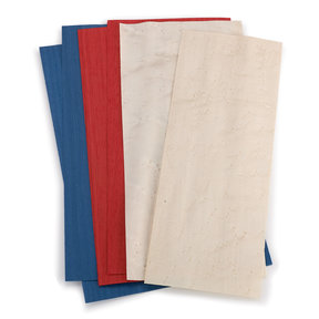 """Dyed Wood Veneer - 4-1/2"""" to 6-1/2"""" Width - Red White and Blue- 3 Square Foot Pack"""