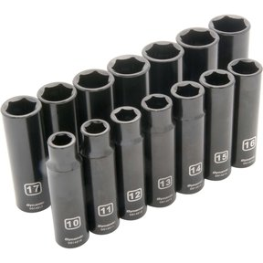 "Tools 1/2"" Drive 14pc 6-Point Deep Impact Metric Socket Set, 10mm - 23mm"