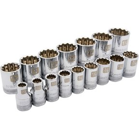 "Tools 1/2"" Drive 16pc 12-Point Standard SAE Socket Set, 3/8"" - 1-5/16"""