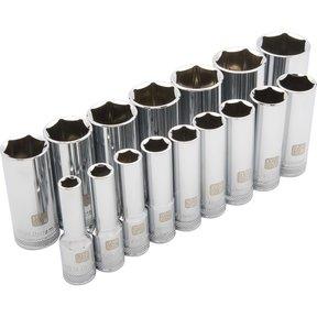 "Tools 1/2"" Drive 16pc 6-Point Deep SAE Socket Set, 3/8"" - 1-5/16"""