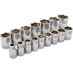 "Tools 1/2"" Drive 16pc 6-Point Standard SAE Socket Set, 3/8"" - 1-5/16"""