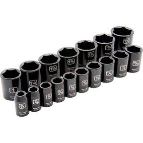"Tools 1/2"" Drive 17pc 6-Point Standard Impact SAE Socket Set, 3/8"" - 1-3/8"""