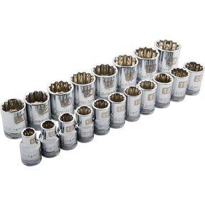 """Tools 1/2"""" Drive 19pc 12-Point Standard Metric Socket Set, 10mm - 28mm"""
