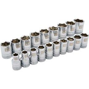 """Tools 1/2"""" Drive 19pc 6-Point Standard Metric Socket Set, 10mm - 28mm"""