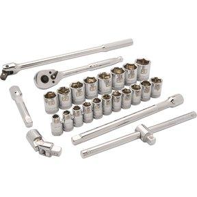 """Tools 1/2"""" Drive 25pc 6-Point Standard Metric Socket Set, 10mm - 28mm"""