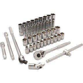"""Tools 1/2"""" Drive 43pc 6-Point Standard/Deep Metric Socket Set, 10mm - 28mm"""