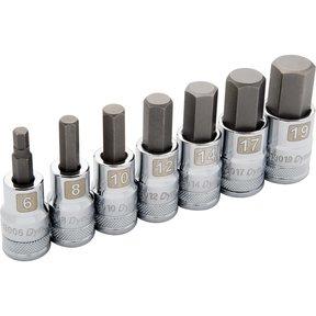"""Tools 1/2"""" Drive 7pc Metric Standard Hex Socket Set, 6mm - 19mm"""