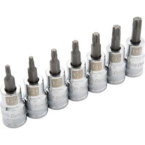 """Tools 1/2"""" Drive 7pc Standard Torx® Socket Set -  T20 - T50"""