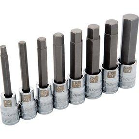"Tools 1/2"" Drive 8pc Long SAE Hex Socket Set, 1/4"" - 3/4"""