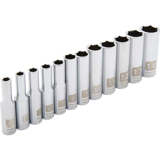 """View a Larger Image of Tools 1/4"""" Drive 12pc 6-Point Deep Metric Socket Set, 4mm - 14mm"""