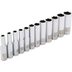 "Tools 1/4"" Drive 12pc 6-Point Deep Metric Socket Set, 4mm - 14mm"