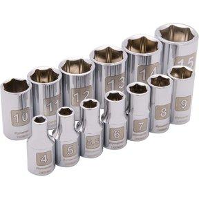 """Tools 1/4"""" Drive 13pc 6-Point Standard Metric Socket Set, 4mm - 15mm"""