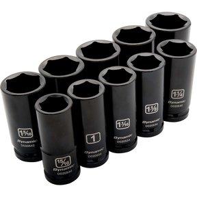 "Tools 3/4"" Drive 10pc 6-Point Deep Impact SAE Socket Set, 15/16"" - 1-5/8"""
