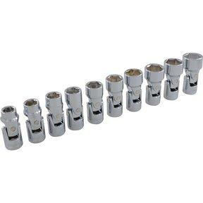 "Tools 3/8"" Drive 10pc 6-Point Metric Universal Joint Socket Set, 10mm - 19mm"