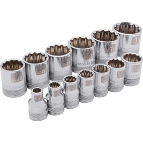 "Tools 3/8"" Drive 13pc 12-Point Standard SAE Socket Set, 1/4"" - 1"""