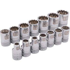 """Tools 3/8"""" Drive 14pc 12-Point Standard Metric Socket Set - 6mm - 19mm"""
