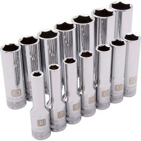 "Tools 3/8"" Drive 14pc 6-Point Deep Metric Socket Set, 6mm - 19mm"