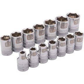 """Tools 3/8"""" Drive 14pc 6-Point Standard Metric Socket Set, 6mm - 19mm"""