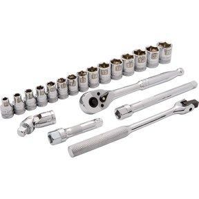 """Tools 3/8"""" Drive 20pc 6-Point Standard Metric Socket Set, 6mm - 20mm"""