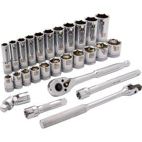 "Tools 3/8"" Drive 27pc 6-Point Standard/Deep SAE Socket Set, 3/8"" - 1"""