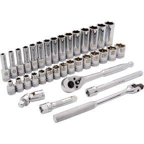 """Tools 3/8"""" Drive 35pc 6-Point Standard/Deep Metric Socket Set, 6mm - 20mm"""