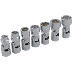 """Tools 3/8"""" Drive 7pc 6-Point SAE Universal Joint Socket Set, 3/8"""" - 3/4"""""""
