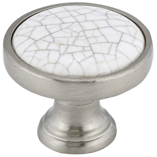 """View a Larger Image of Eclectic Knob, 1-1/8"""" D, Crackle White, Brushed Nickel"""