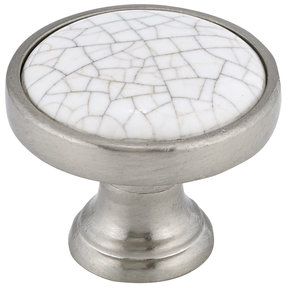 """Eclectic Knob, 1-1/8"""" D, Crackle White, Brushed Nickel"""