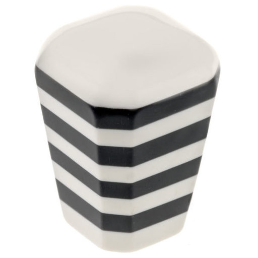 """View a Larger Image of Eclectic Knob, 1-3/16"""" x 1-3/16"""", Black, Cream"""