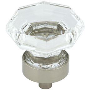 """Eclectic Knob, 1-3/8"""" D, Brushed Nickel, Clear"""