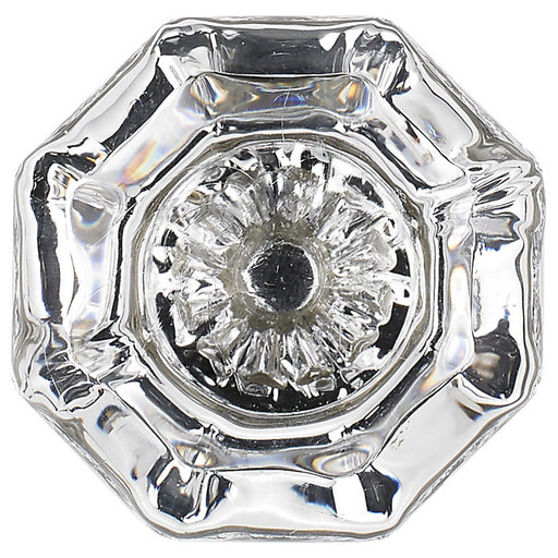 """View a Larger Image of Eclectic Knob, 1-5/16"""" D, Matte Nickel, Clear"""