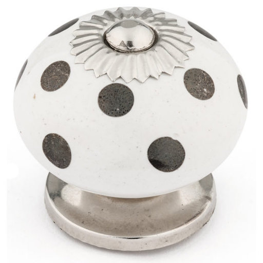 """View a Larger Image of Eclectic Knob, 1-9/16"""" D, Chrome, White"""